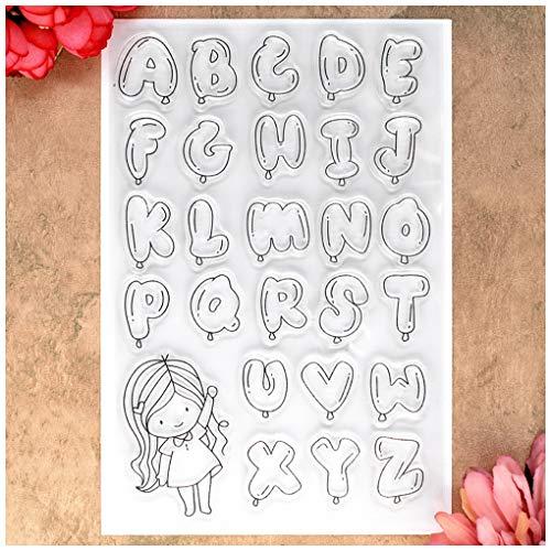 Kwan Crafts ABC Luftballons Mädchen Englisch Alphabet Buchstaben Klar Stempel für Kartengestaltung Dekoration und DIY Scrapbooking