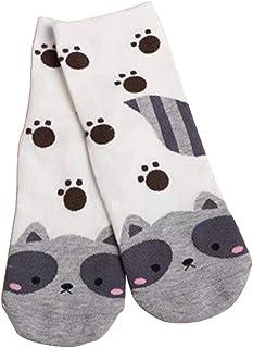 YO-HAPPY, YO-HAPPY Calcetines de Mujer, Mujeres Niñas Dibujos Animados Animal Gato/Zorro/Perro Calcetines Cortos de algodón Estampados Coloridos