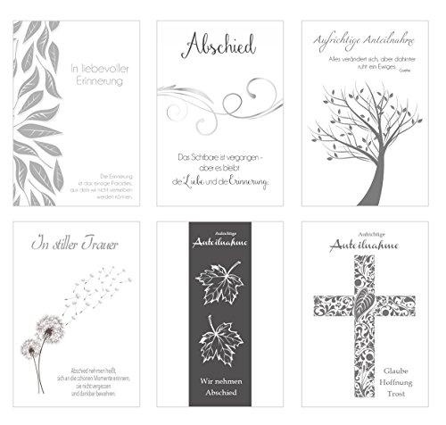 Edition Seidel Set 6 einfühlsame Premium-Trauerkarten mit Silber-Prägung/Beileidskarten mit Umschlag. Trauerkarte Beileidskarte mit Spruch schreiben (Doppelkarten/Klappkarten mit Briefumschlag)