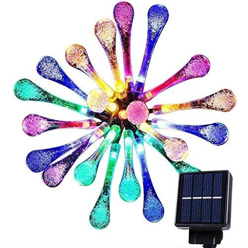 NGXIWW Luces De Hadas 7M8 Modo Gota De Agua a Prueba De Agua IP67 Luces De Cadena LED 30LED Luces De Cadena Solares con Luces De Estrellas De Colores para Decoración De Fiestas Navideñas