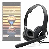 DURAGADGET Auriculares de Diadema Negros con micrófono móvil, Mando de Volumen y Doble Salida...