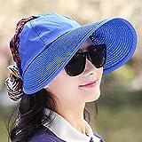 HEHEXIY ModaProtección para la Cara Sombrero para el Sol Sombreros Plegables de Verano para Mujeres Anti-UV Granala Anchacon CintaSombrero de Playa paraMujerF0129Royal blueBeach Som