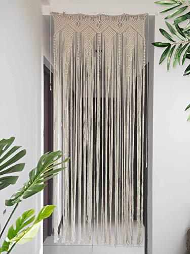 "Hysunland Macrame Doorway Curtains/Bohemian Room Divider/Handmade Door String Curtain for Wedding Backdrop, Bedroom Kitchen/Birthday, Party, 33"" W x 82.6"" H"