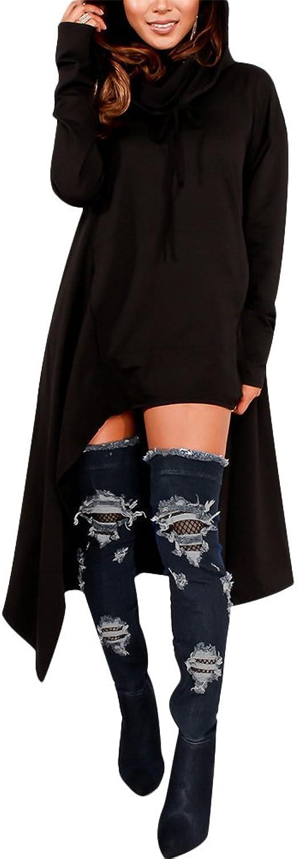Sprifloral Womens Irregular Hem Loose Fitting Tops Long Sleeve Hooded Sweater Tunic Dress Black US 4