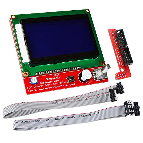 KOOKYE LCD 12864 Graphic Smart Display Controller Module with Connector Adapter & Cable for RepRap RAMPS 1.4 3D Printer kit for Arduino Mega 2560 R3 Shield