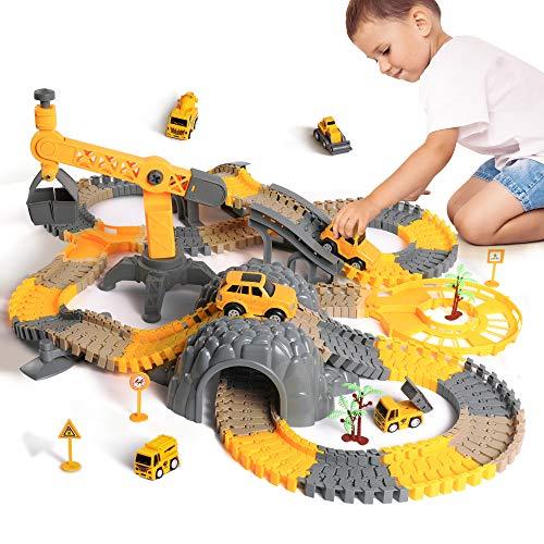 Juego de carreras, vehículos de construcción, trenes flexibles con camiones eléctricos, juego de coches de juguete para 2 3, 4, 5, 6, 7 años, niños niñas, set de juegos de carreras de carretera regalo