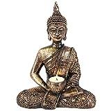 Magical Gift Store Figura Decorativa de Buda Resina portavelas para Vela de té