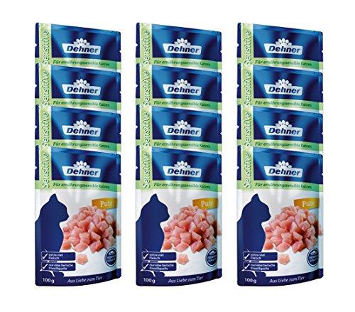 Dehner Premium Katzenfutter Adult, Sensitive, Pute im Beutel, 12 x 100 g (1,2 kg)