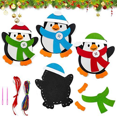 Basteln zu Weihnachten für Kinder,Christbaumschmuck Bastelset für Kinder, Weihnachtskugeln Anhänger Nähset Pinguin,Christbaumschmuck Bastelset für Kinder,Pinguin Pompons Dekorationen Bastelset