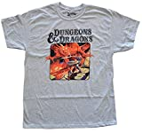 Dungeons and Dragons D&D Book Cover Mens T-Shirt (Large) Grey
