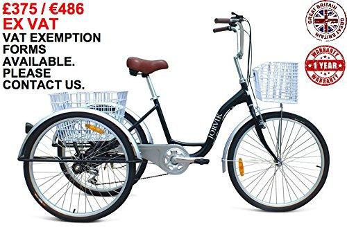 Jorvik 66cm Aluminium–3Rädern Trike, Erwachsene Dreirad. Große Räder, leichter Rahmen