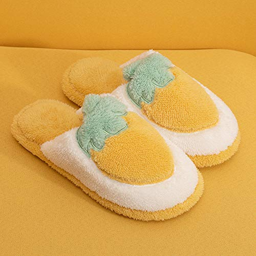 SHOESESTA Zapatillas de Estar por Casa Frutas Pantuflas de Felpa Mujer Otoño Invierno Zapatos de Algodón Calidez Antideslizante Interior Dormitorio Ocio Zapatos de Piso-Yellow_35-36