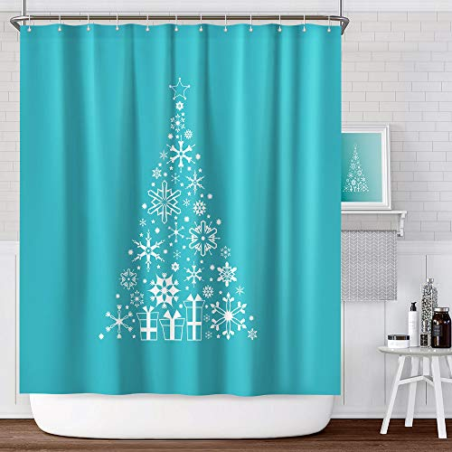 ANZOME Christmas Shower Curtain, 180 x 180cm Waterproof Polyester Bathroom Curtain with 12 Hooks, Polyester Fabric Machine Washable Shower Curtains 71 x 71 Inch