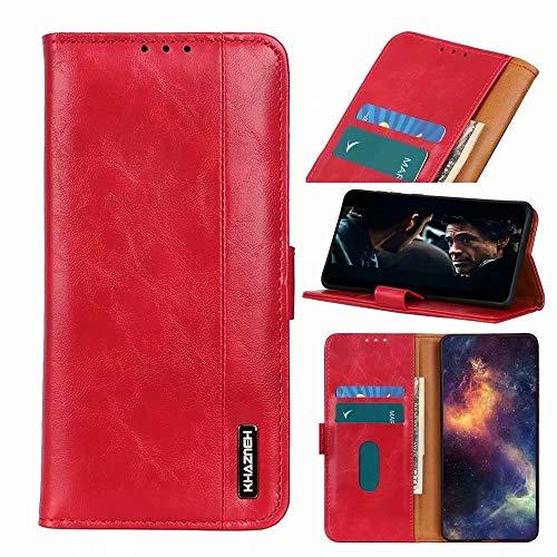 Funda de teléfono móvil compatible con Xiaomi Redmi 10, funda de piel sintética, funda de piel sintética con tapa y tarjetero magnético, carcasa de silicona, color rojo