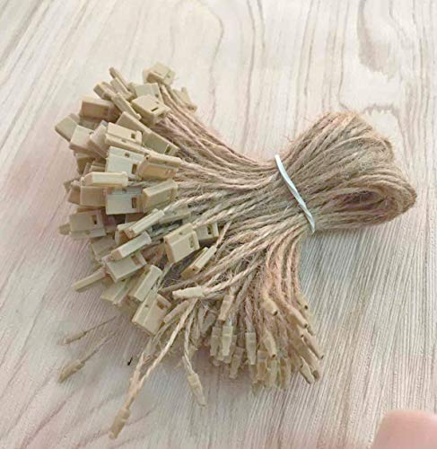 """Hemp Twine String 7"""" 500 Pcs Price Hang Tag Fasteners with Snap Lock Ties Easy and Fast To Attach Swing Tags by CShopcc"""