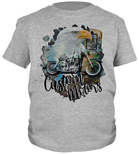 Motorrad Motiv Kindershirt - Kinder T-Shirt Biker : Custom Motors - Kinder Motorrad Sprüche Shirt Gr: L