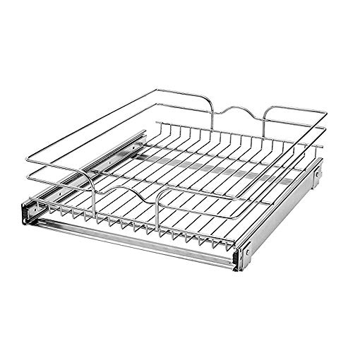 Rev-A-Shelf 5WB1-1822-CR 18-Inch Single Wire Basket Pull Out Storage Shelve Organizer for Kitchen Base Cabinets, Chrome