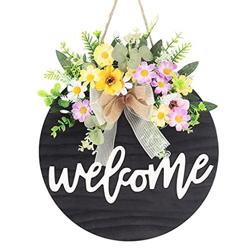 HUIJUAN Placa de felicitación, guirnalda de flores para puerta de casa, guirnalda colgante de madera, veranda antigua, perchas, casa rural, decoración al aire libre