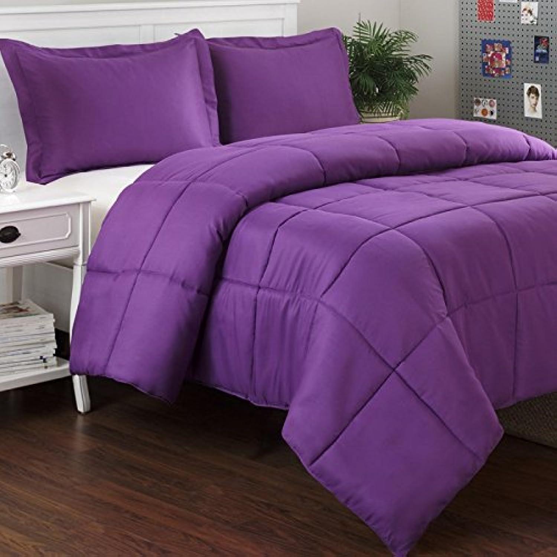 Dreamz étui Parure de lit Ultra Doux 300Fils en Coton égypcravaten 1Doudou (100g m2 en Fibre) Euro King Taille, Violet massif 100% Coton Housse de Couette