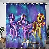 Decora la habitación para oscurecer las cortinas anchas My Little Pony Twilight Glitter Sunset Shimmer and Star Shimmer Poster Cortinas opacas para dormitorio, cocina y sala de estar 137 x 213 cm