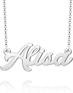 Q&Locket 925 Sterling Silver Classic Name Necklace Personalized Custom Initial Script Nameplate Necklaces Gifts for Girls Womens