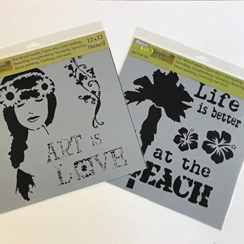 Crafter's Workshop Stencil 2 Pack, Reusable Stenciling Templates for Art Journaling, Mixed Media, and Scrapbooking - TCW703 Art is Love & TCW708 at The Beach, 12 inch x 12 inch
