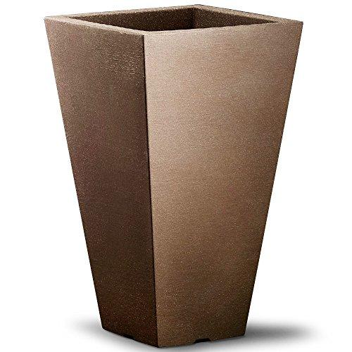 Deuba Large Venetian Plant Box 35x35x55cm Square Planters Window Flower Box Brown Plastic Cultivation Pot