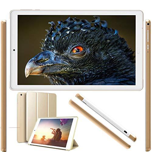 Tablet 10 Pulgadas Android 9.0 Pie 2020 New, Tablet PC 4G/WiFi, 3GB RAM+32GB ROM/128GB 8500mAh Quad-Core Dual SIM Bluetooth/GPS/OTG Tablets de función de Llamada Youtube -Oro