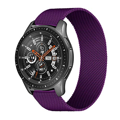 ZLRFCOK 20mm 22mm Correa para Samsung Galaxy Watch 46mm 42mm Gear S3 Frontier Watch 3 45mm 41mm Active 2 para Huawei GT 2 Amazfit BIP Banda (Band Color : Purple, Band Width : 22mm)