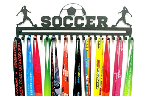 URBN Unique Metal Wall Mount 'Soccer' Sports Medal Hanger and Lanyard Ribbon Display Holder Rack with 20 Easy Hanging Hooks & Simple Install, Great Gift for Kids (Girl) - Black