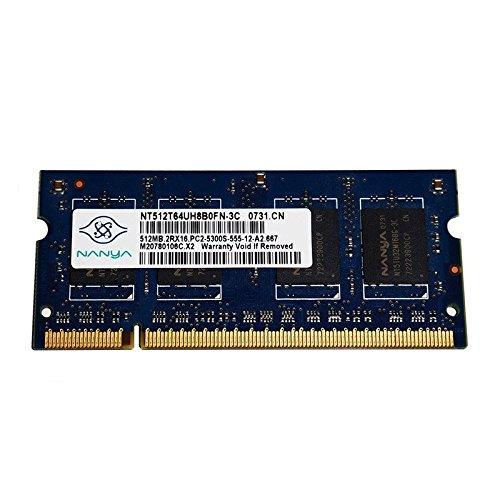 512MB RAM PC portátil SODIMM Nanya nt512t64uh8b0fn-3C DDR2PC2–5300S 667mhz CL5