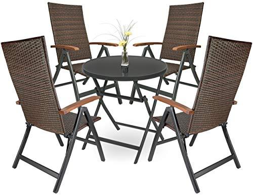 Brubaker Garten Sitzgruppe Modena - 1 Glastisch Klapptisch rund 70 cm Ø mit 4 Polyrattan Stühlen - Wetterfest - Braun/Anthrazit