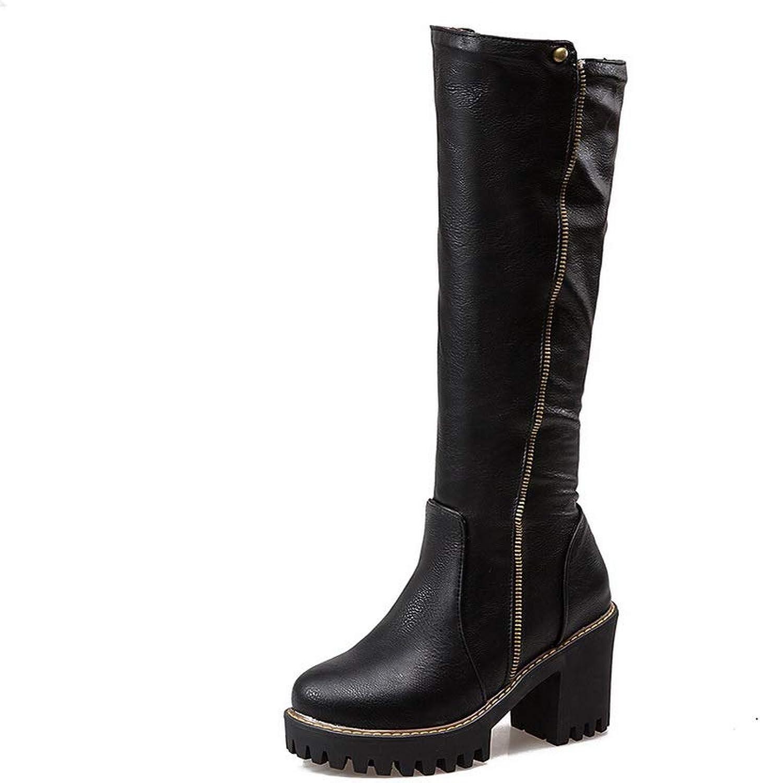 AN Womens Chunky Heels Platform Zipper Urethane Boots DKU02332