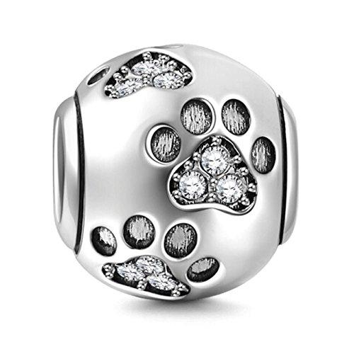 Charm in argento Sterling 925 a forma di zampa di cucciolo,ideale per un regalo di compleanno, compatibile con bracciali Pandora White