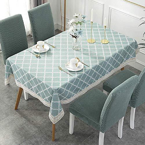 Einfache Wasserdichte Gittertischdecke, Elastische Verdickung Stuhlabdeckung 6 STÜCKE, Polyester Tischbezug Stuhlbezug-Set,Green-130x180cm