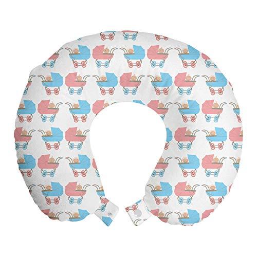 ABAKUHAUS Kinderkamer Reiskussen, Kinderwagens en een Baby Inside, Reisaccessoire met Geheugenschuim voor Vliegtuig en Auto, 30 cm x 30 cm, Sky Blue Blush White