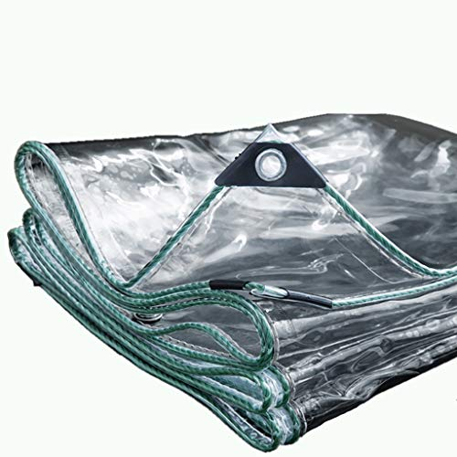 rff La Cubierta Vegetal Transparente PVC Lona de plástico Lona-Impermeable con Perforaciones, a Prueba de Lluvia for la Cubierta de la Flor y el balcón Planta, 420g / m² (Size : 1.6 * 1.6m)