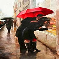 絵筆で大人のための数字で描かれたDiyデジタル絵画と子供、高齢者、初心者のためのペイント、キャンバス上の赤い傘、アクリル絵の具キット