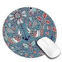 マウスパッド ラウンドマウスマット ゲーミングマウスパッド 丸型 円形 おしゃれ 和風 和柄 魚 花柄 柔軟 PC ノートパソコン オフィス用 滑り止めゴム底 耐久性が良い 光学式マウス対応 人間工学 オフィス最適 高級感