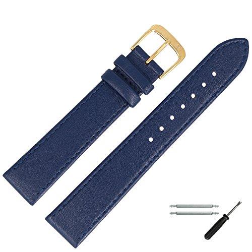 MARBURGER Uhrenarmband 18mm Leder Blau - Werkzeug Montage Set 7591851000220