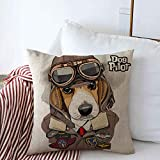 Staroapr Throw Pillows Cover 18 x 18 Inches Brown Dog Beagle Aviator Helmet Leather Jacket Animals Wildlife Beauty Cool Funny Fly Goggles Hat Air Cushion Case Cotton Linen for Fall Home Decor