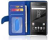 Cadorabo Hülle für Sony Xperia Z5 Compact in Neptun BLAU – Handyhülle mit Magnetverschluss & 3 Kartenfächern – Hülle Cover Schutzhülle Etui Tasche Book Klapp Style