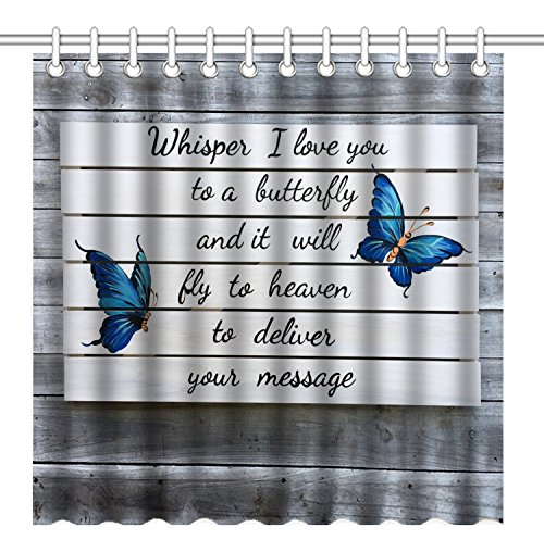 Wknoon 72 x 72 Inch Shower Curtain, Love Quotes Blue Butterfly on Vintage Grey Wood, Whisper I Love You to a Butterfly and it Will Fly to Heaven to Deliver Your Message