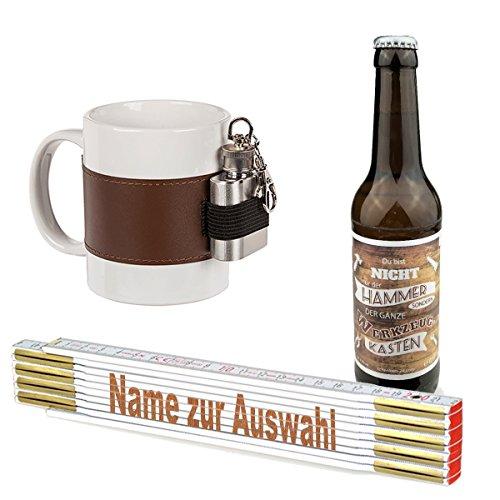 3-teiliges Geschenkset/Zollstock mit Namens-Gravur, Handwerker-Bier und Tasse mit Flachmann/Echte Kerle/Männergeschenk/Handwerker/Vatertag/Geburtstag, Zollstöcke Namen:Karl-Heinz