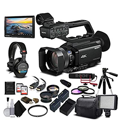 Sony HXR-NX80 Full HD XDCAM with HDR & Fast Hybrid AF (HXR-NX80) with 2-64GB Memory Card, 2 Extra Batteries, UV Filter, LED Light, Case, Tripod, Rode Mic, Headphones - Professional Bundle by Mad Cameras