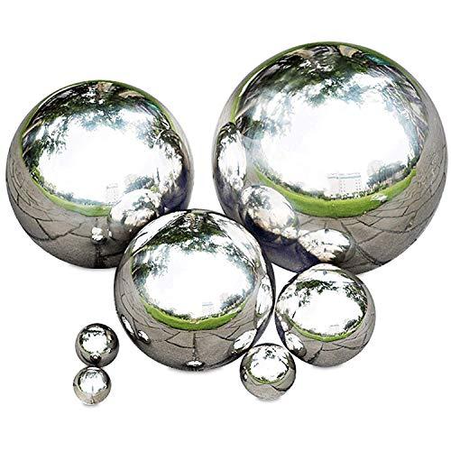 Rapid Teck® Edelstahl Schwimmkugel Silber Hochglanz poliert Durchmesser 20cm polierte Silberkugel hohl | Rosenkugel Teichkugel Dekokugel Gartenkugel glänzend Hohlkugel