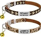 TagME Collar de Gato Personalizado, con Placa de Identificación Personalizable y Hebilla de Liberación Rápida, Collar de Gato Ajustable, Apto para Gatos y Cachorros, Dos Piezas, Marrón