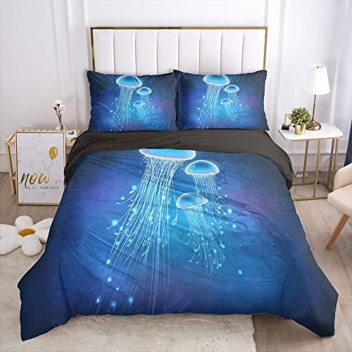 Kwallen Dekbedovertrek Set-Bedding, Microfiber Lichtgewicht Kleurrijke Beach Themed Boho Style Aqua 3D Kunst Print dekbedovertrek met 2 kussensloop,Jellyfish5,220x230cm
