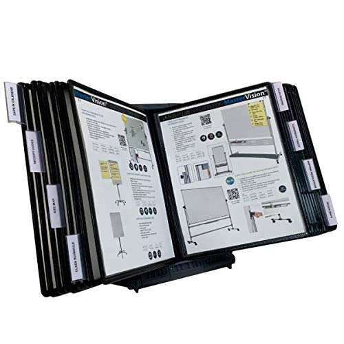 Ultimate Office AdjustaView 20-Pocket Desk Reference Organizer with Easy-Load Pockets and Compact Weighted Base for Stability, Black Pockets