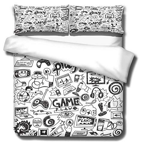 LIGAHUI Funda de nórdica para niños Consola de Juegos Gris Ropa De Cama Set Microfibra Y Funda De Almohada para El Dormitorio De Casa 140x200cm (para Cama de 90)